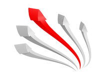 Red arrow leader rising up on white background Royalty Free Stock Images