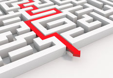 Red arrow leads through a maze vector illustration