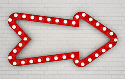 Red arrow with light bulbs on white painted brick wall. 3D rendering Royalty Free Stock Photos