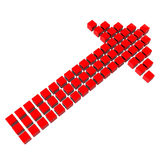 Red arrow made of cubes. Red 3D arrow made of many cubes on white background Royalty Free Stock Photography