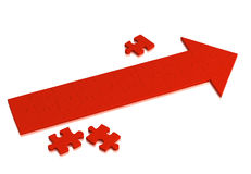 Red arrow made of pieces of puzzle. Object over white Stock Photography