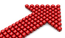 Forty percent growth. Arrow symbol made from cubes. Red arrow made from red cubes labeled forty percentages symbols. Isolated. 3D Illustration vector illustration