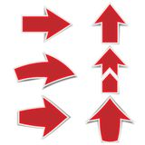 The red arrow marks a shadow on a white background royalty free stock image