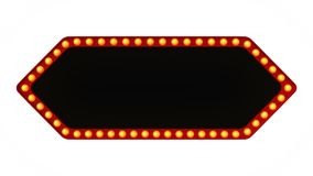 Red arrow marquee light board sign retro on white background. 3d rendering. Red arrow marquee light bulb board display sign retro on white background. 3d Stock Photo
