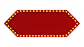 Red arrow marquee light board sign retro on white background. 3d rendering. Red arrow marquee light bulb board display sign retro on white background. 3d Royalty Free Stock Photography