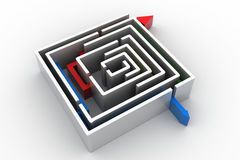 Red arrow in the Maze Stock Photos