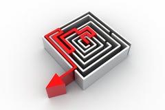 Red arrow in the Maze Stock Photos