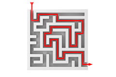 Red Arrow Moves Through the Labyrinth Royalty Free Stock Photography