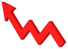 Red arrow moves up. Profit graphic design Stock Photos