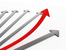 Red arrow moving up Stock Photo