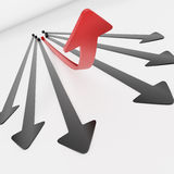 Red arrow moving up Stock Photography