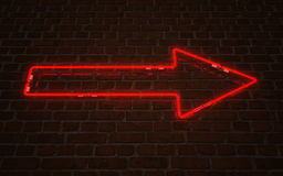 Red arrow neon Royalty Free Stock Images
