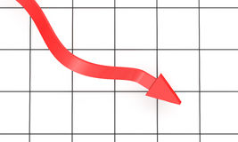 Red Arrow On Chart Background Stock Images