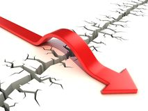 Red arrow passing obstacle - risk and success 3d concept Royalty Free Stock Images
