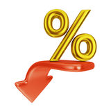 Red arrow and percent Stock Images