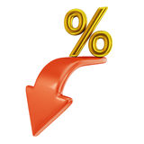 Red arrow and percent Stock Photo