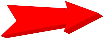 Red arrow pointed - 3D Illustration. Red arrow pointed, it`s a llustration Stock Image