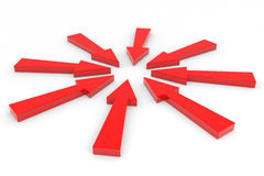 Red arrow pointing inwards. Stock Photo