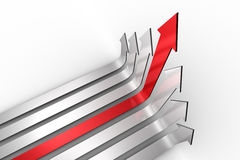 Red arrow pointing up with grey arrows Stock Image