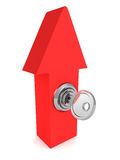 Red arrow pointing up with key lock Stock Photography