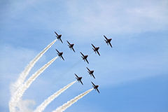 Red Arrow RAF Airforce aerobatic jet aircraft Stock Image