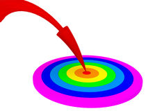 Red arrow into rainbow circle aim Stock Photography