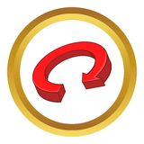 Red arrow recycling vector icon. In golden circle, cartoon style isolated on white background Stock Photo