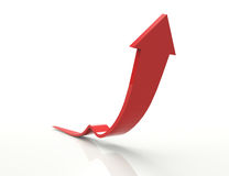 Red arrow. Rising red arrow 3d concept design Royalty Free Stock Photography