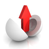 Red arrow rising up from sphere. Success concept 3d render illustration Royalty Free Stock Photography