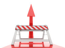 Red arrow with road barrier on them rendered Royalty Free Stock Image
