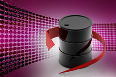 Red arrow rounded the oil barrel. In color background royalty free illustration