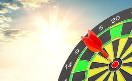 Red arrow is rushing to center of target dartboard Stock Images