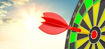Red arrow is rushing to center of target dartboard Royalty Free Stock Photo