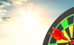 Red arrow is rushing to center of target dartboard Stock Photo