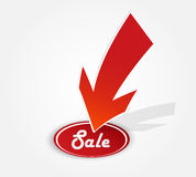 Red arrow with sale sign. Royalty Free Stock Image
