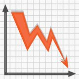 The red arrow tends down on the chart vector illustration