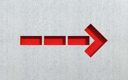 Red arrow show direction. 3d rendering Royalty Free Stock Photos