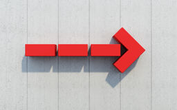 Red arrow show direction, 3d rendering. Red arrow on the wall show direction Stock Photos