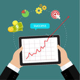 Red arrow shows growth chart Stock Photography