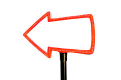 Red arrow sign with copy space and light bulbs surround. On white background Stock Photo