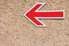 Red Arrow Sign, Left direction Stock Images