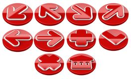 Red Arrow sign web 2.0 internet buttons. Stock Image