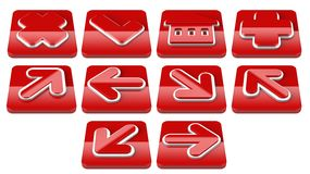 Red Arrow sign web 2.0 internet buttons. Stock Images