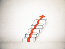 Red arrow and stairway sketch Royalty Free Stock Image