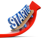 Red Arrow Startup skateboard. Red Arrow with blue Startup text on skateboard Royalty Free Stock Photo