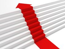 Red arrow steps to the top of success ladder Royalty Free Stock Images