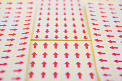 Red arrow sticker Stock Photo