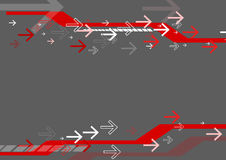 Red arrow and stripe on gray background Royalty Free Stock Photos