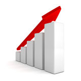 Red arrow and success bar graph growing up. 3d render illustration Stock Photography