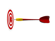 Red Arrow with Target. Red plastic dart arrow in the middle of the target, isolated on white background Stock Images